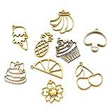 Fashewelry 12 unids/caja abierta bisel colgante oro formas mixtas hueco marco encantos para resina artesanía joyería fabricación