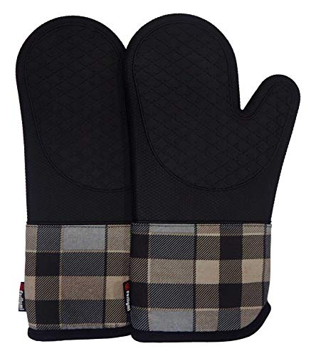 Heat Resistant Silicone Kitchen Oven Mitts for 500 Degrees with Waterproof, Set of 2 Oven Gloves with Cotton Lining for BBQ Cooking Set Baking Grilling Barbecue Microwave Machine Washable Black-1