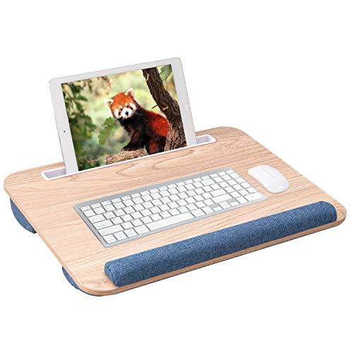 Rentliv Supporto PC Portatile con Cuscino e Poggiapolso Scrivania Multifunzionale per Letto Adatta al PC Fino a 15.6 Pollici con Porta per Tablet, Telefono e Penne