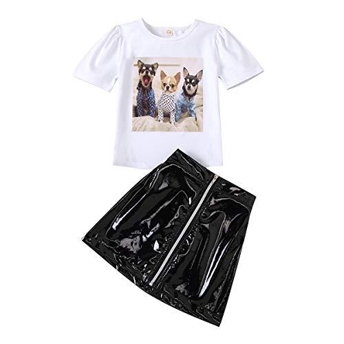Trajes para niñas de 1 a 6 años Camiseta de Manga Corta Superior de 2 Piezas Falda de Cuero con Cremallera Color sólido Encaje Cuello Redondo Dulce Verano