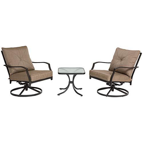 Outsunny Garten Schaukelstuhl Set mit Kaffeetisch, 3-TLG. Gartenmöbel Set, Gartenstuhl, 360° drehbar, Metall, Braun, 61 x 77 x 78 cm