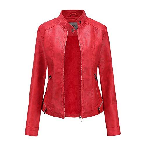 XIEPEI Damen Lederjacke Herbst und Winter Retro gewaschen und Samt Damen Jacke Mantel weibliche Leder Damen Motorradbekleidung