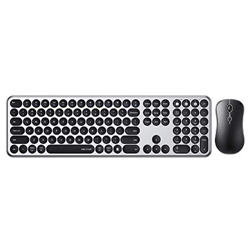 Multi-Device Bluetooth Keyboard and Mouse, Jelly Comb Full-Size Ergonomic 2.4G Wireless Rechargeable Keyboard and Mouse Combo, Supporting 3 Devices for Windows/Mac OS/iOS/Android, KM45-3