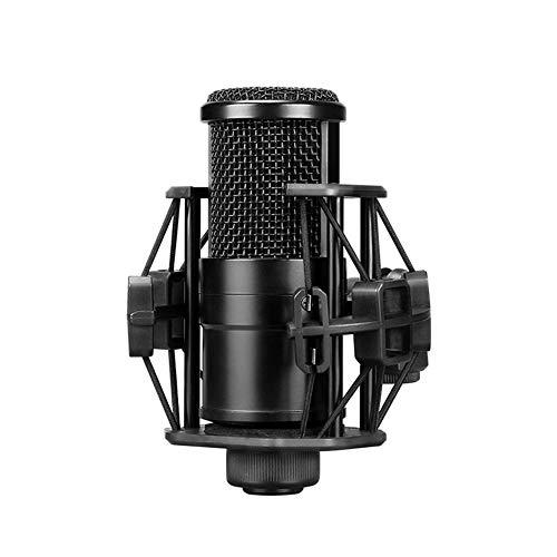 Micrófono profesional determinado con el cable for transmitir vídeo en directo Canto Conferencia de Bloggers y vloggers para iPhone Android iPad PC (Color : Black)
