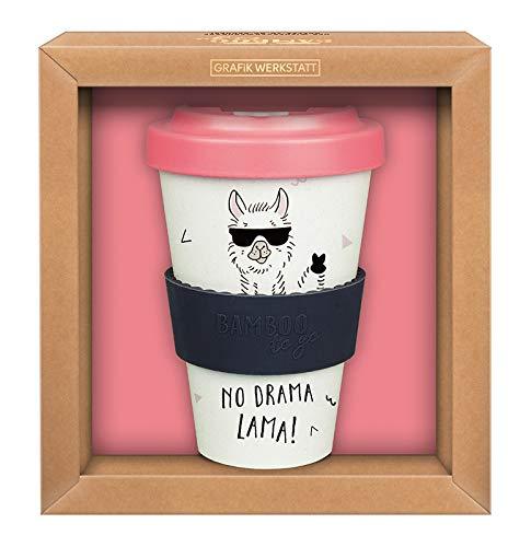 Grafik-Werkstatt Premium Becher mit Deckel |Kaffeebecher to go | 400 ml | Lama