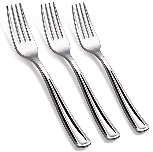 150 - Disposable Silver Forks Looks Like Silver Plastic Silverware - Solid, Durable, Heavy Duty Cutlery