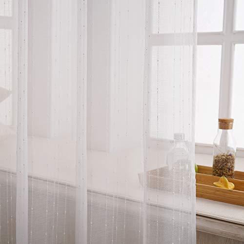 VISTE TU HOGAR Cortina Decorativa Translucida con Ojales, Estilo Simple y Elegante, para Salón, Habitación y Dormitorio, 1 Pieza, 150X260 CM, Color Blanco