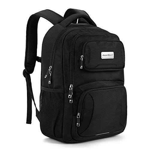 ASPENSPORT Laptop Backpack for School College Students Water Resistant Book Bag for Boy and Girl - fit 16inch Computer Carry-On Backpack Travel Durable Work Daypack 30L Black