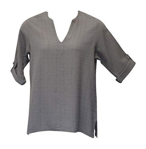Ezze Wear Women's Taupe Dotty Gauze Cotton Teah Tunic Top - Beige - Large