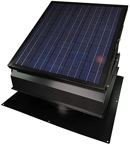 "40-Watt Solar Attic Fan (BDB) with Thermostat/Humidistat/adapter (22.5 x 22.5 x 11 IN.) - Runs at Night - Brushless Motor – Solar Vent Hail and Weather Resistant – ""Builder Series"" by Remington Solar"