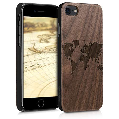 kwmobile Hülle kompatibel mit Apple iPhone 7/8 / SE (2020) - Handy Schutzhülle aus Holz - Cover Case Handyhülle Travel Umriss Dunkelbraun