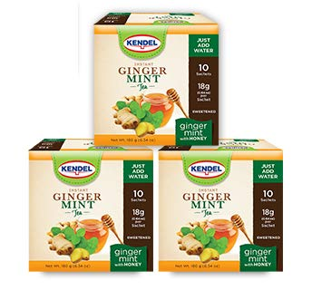 Kendel Instant Ginger-Mint Tea With Honey, Caffeine Free (30 Sachets)