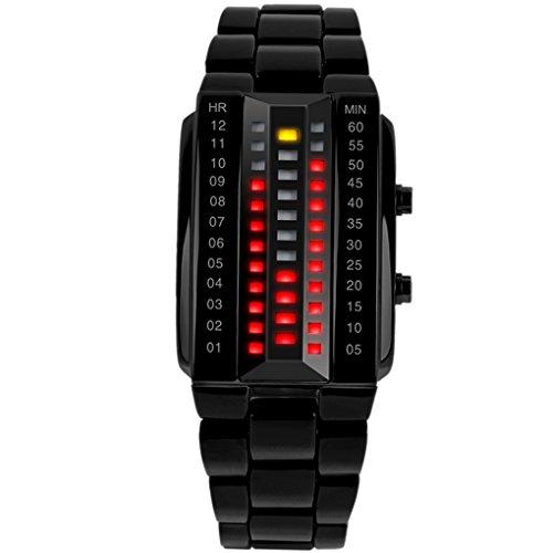SKMEI - Reloj Digital Impermeable con LED Luz Relojes de Pulsera Resistente al Agua Banda de Acero Inoxidable Watch Waterproof para Mujeres - Negro