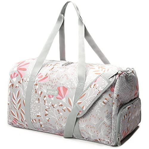 Jadyn B Weekender Bag - 56 cm./ 52L - Borsone con Tasca per Scarpe (Gray Floral)