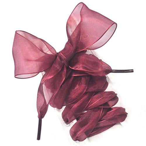 GFFGA 1 paio di scarpe moda stringhe donna fiocco lacci delle scarpe piatte nastro di raso di seta scarpe di tela lacci delle scarpe sneakers scarpe sportive lacci regalo, vino rosso