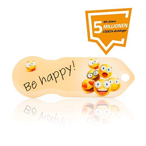 Einkaufswagenlöser Code24 Be Happy', Schlüsselanhänger mit Einkaufschip & Schlüsselfinder, inkl. Registriercode für Schlüsselfundservice, Einkaufswagenchip mit Profiltiefenmesser