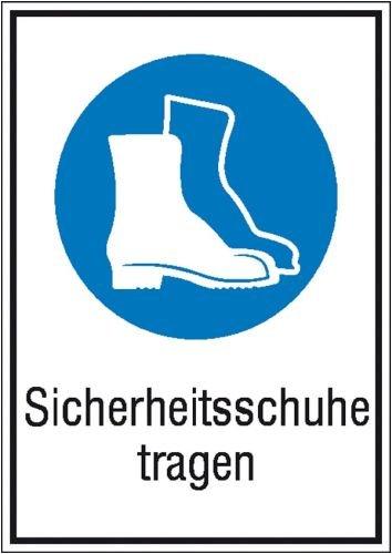 König Werbeanlagen Aufkleber Sicherheitsschuhe tragen gem. ASR A1.3/ BGV A8, Folie selbstklebend 13,1 x 18,5 cm (Gebotsschhild, Kombischild) praxisbewährt, wetterfest