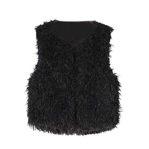 Fabal Autumn Winter Baby Sleeveless Faux Fur Vest Baby Girl Winter Waistcoat Fur Vest For Baby Clothing (6T-7T, Black)
