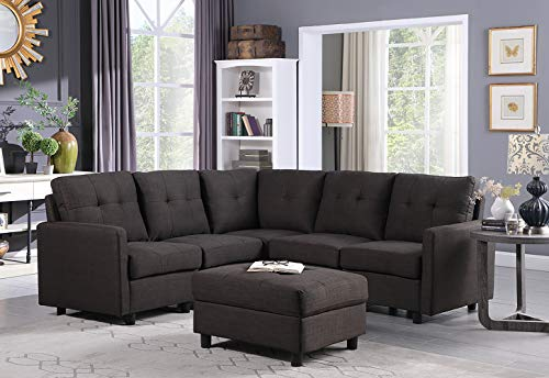 DAZONE Modular Sectional Sofa Assemble 6-Piece Modular Sectional Sofas Bundle Set Cushions, Easy to Assemble Left & Right Arm Chair,Corner Chair, Armless Chair, Ottomans Table Charcoal
