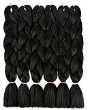 LOHXINHAIR Black Kanekalon Braiding Hair for Women 24 inch 6 pack High Temperature Synthetic Jumbo Braids Twist Crochet Hair Extensions Soft Yaki Texture