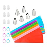 Piping Bags and Tips Set, Silicone Icing Piping Bags Cake Decorating...