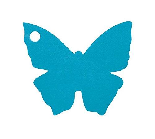 Chal - Etiquette Porte nom Papillon Turquoise x10