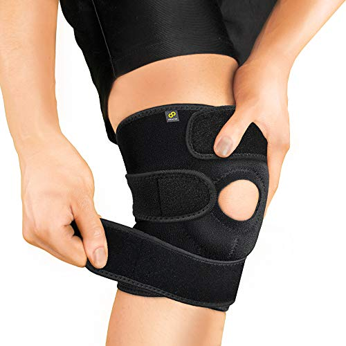 Bracoo Adjustable Compression Knee Support Brace for Men Women - Arthritis Pain, Injury Recovery, Running, Workout, KS10 (Black)