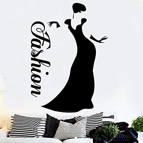 Calcomanía de Vinilo para Pared, Pegatina para Ventana, salón de Belleza, Mujer, Estilo de Moda, Ropa, decoración, calcomanía 42x53cm