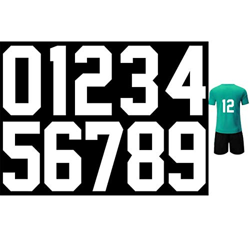 8 Inch Iron Heat Transfer Number 0 to 9 for Sports T-Shirt Jersey Football Baseball,Team t-Shirt (White Color 0-9)