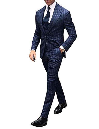 UMISS Herren Streifen Peak Revers 3-teiliger Anzug Jacke mit einem Knopf Hosen Weste