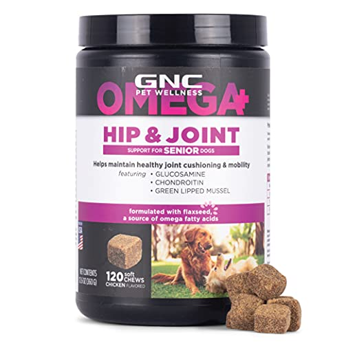 GNC Pets Omega Hip & Joint Dog Supplements for Senior Dogs with Omega Fatty Acids & Flaxseed, 120 ct | Chicken Flavor Soft Chews with Glucosamine, Chondroitin Sulfate, & Green Lipped Mussel (FF15437)