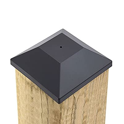 "(32 Pack) New Wood Fence Post Black Caps 6X6 (5 5/8"") Pressure Treated Wood Made In USA (32)"