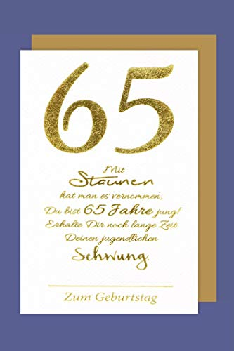 65 Geburtstag Karte Grußkarte Jugendlichen Schwung Foliendruck 16x11cm