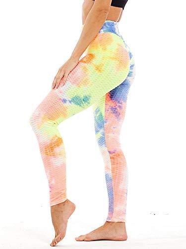 Abtel Leggings para mujer, de panal de abeja, anticelulitis, cintura alta, pantalones de yoga, pantalones fruncidos, control de barriga, levantamiento de glúteos, para correr, arco iris, M