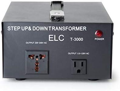 ELC T-5000 5000-Watt Voltage Converter Transformer - Step Up/Down - 110V/220V - Circuit Breaker Protection [3-Years Warranty]
