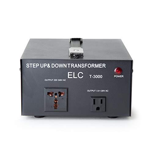 ELC T-3000 3000-Watt Voltage Converter Transformer - Step Up/Down - 110V/220V - Circuit Breaker Protection [3-Years Warranty], black
