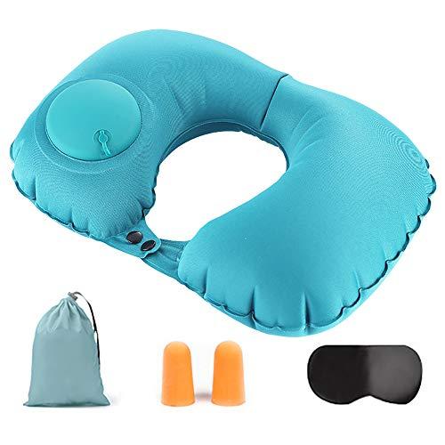 Niaguoji Almohada de viaje plegable para cuello, ultraligera, compacta, suave, inflable, en forma de U, con bolsa de almacenamiento, tapones para los oídos para camping, senderismo, oficina, hogar
