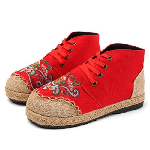 Hoge Sneakers Voor Dames, Canvas, Retro Ronde Neus, Veterschoenen, Patchworkplatforms, Schoenen, Mode, Geborduurde, Ademende Espadrilles