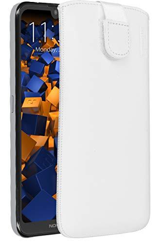 mumbi Echt Ledertasche kompatibel mit Nokia 2.2 Hülle Leder Tasche Hülle Wallet, Weiss