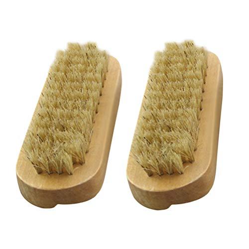 Lurrose 2 piezas Cepillos de cerdas naturales para manos y uñas Cepillo para manos de madera de dos caras Cepillo para uñas de pedicura de manicura