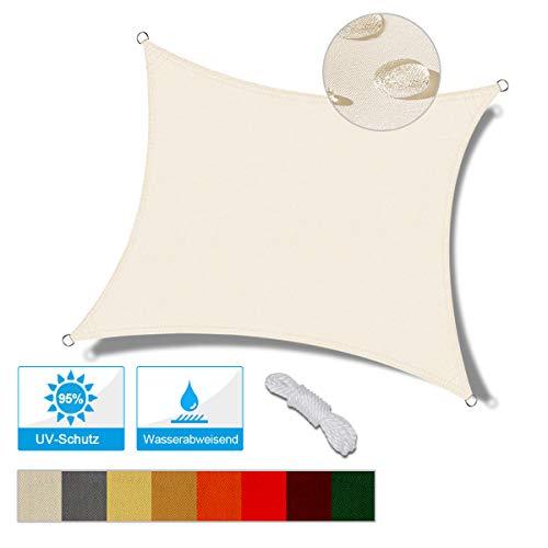 OKAWADACH Toldo Vela de Sombra Cuadrado 3 x 3 m, protección Rayos UV Impermeable para Patio, Exteriores, Jardín, Color Crema