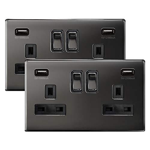 2 x Black Nickel USB Double Wall Plug Socket 2 Gang 13A with 2 USB Charger...
