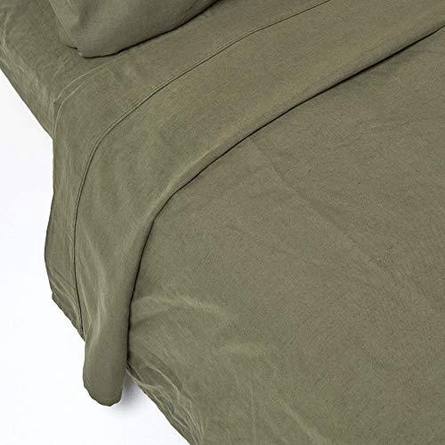Homescapes Luxus Leinen Bettlaken Grün Unifarben 240 x 275 cm Betttuch/Haustuch/Oberlaken Einfarbig Olivgrün Exklusive 100% Reine Baumwolle und Natur Französisches Leinen Flachs Mischung