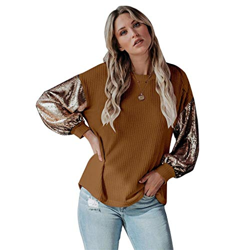 UMore Sexy Oberteil Damen Glitzer Oberteile Wetlook Langarmshirt für Damen Tshirt Clubwear Partywear Tunika Tops