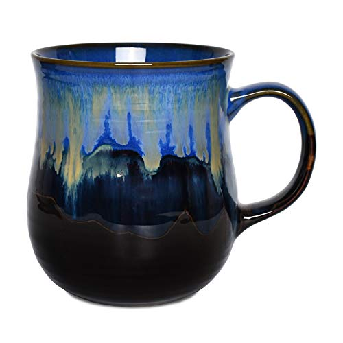 Bosmarlin Large Ceramic Coffee Mug, Blue Big Tea Cup for Office and Home, 21 Oz, Dishwasher and Microwave Safe, 1 PCS