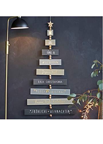 Pureday Weihnachtsdeko - Wanddeko-Schild X-Mas - Schriftzug Frohe Weihnachten - Holz - Grau
