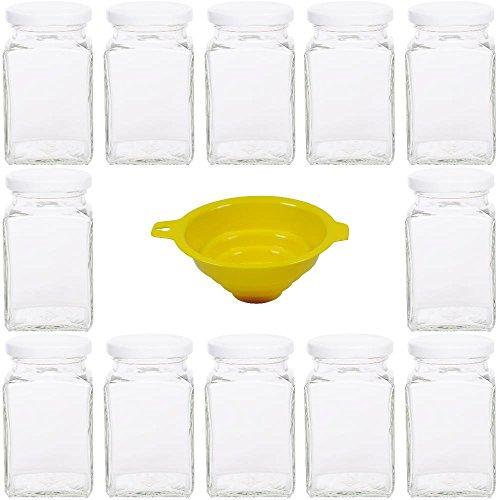 12 x Einmachglas 260 ml mit PVC freiem Schraubverschluss inkl. Einmachtrichter