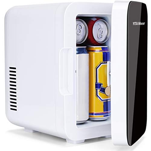 YITAMOTOR Mini Fridge 6 Liter/8 Can Compact Portable Personal Cooler and Warmer for Bedroom, Car, Office, Refrigerator for Skin Care Products, Breast Milk, Foods (Black)