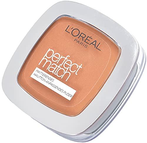 L'Oréal Paris Perfect Match Mattierendes Puder in 8.D/8.W Golden Cappuccino, hautanpassend, verschmilzt perfekt mit dem Hautton, 9 g