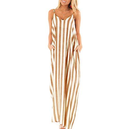 ZEFOTIM  Loose Casual Dress for Women Summer Holiday Strappy Striped Long Boho Dress Beach Maxi Dress Sundress - Yellow - 12